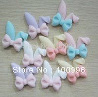 Wholesale Bunny Flatback - Wholesale-Free Shipping 4.1*3.1cm New Design Hot Sell Colorful Diy Flatback Resins Bow Bunny Ears In Mix Colors 20pc A Lot