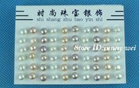 Wholesale Earring Freshwater Pearl - Hot!! Cute! 60pcs 925 sterling silver freshwater pearl stud earring 6mm,60pcs lot