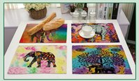 Wholesale elephant patterns for sale - Colorful Elephants Mandala Bohemian Pattern Placemat Morder Style Kitchen Tableware Pad Coffee Tea Place Mat Cotton Linen Dinner Mat