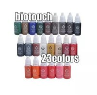 Wholesale Permanent Eyeliner - 23pcs biotouch tattoo ink sets pigment permanent make up 15ml cosmetic color tattoo ink for eyebrow eyeliner lip