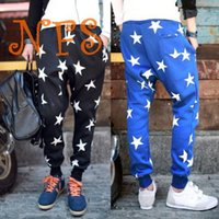Wholesale Crotch Pants For Men - Wholesale-Drop Crotch Pants New 2015 Brand Stars Printed Tapered Mens Harem Pants Trousers Male Joggers Sweatpants for Jogging Training