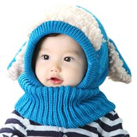 mädchen tier hut schal großhandel-2016 Hot Winter Baby Hut und Schal Gemeinsame Kaninchen ohr Tier Crochet Strickmützen für Infant Jungen Mädchen Kinder Warme Hüte