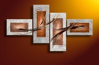 Wholesale Decorative Group Oil Painting - Hand-painted Hi-Q modern wall art home decorative brown gray texture group oil painting on canvas 4pcs set framed