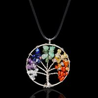 Wholesale Citrine Wholesale - Wisdom Tree Necklaces Chakra Citrine Amethyst Opal Agate Beaded Natural Stone Pendant Necklace Leather Chains Christmas Gifts 160789