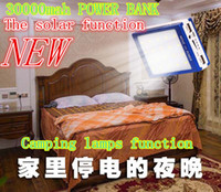 Wholesale Solar Panel Charge Light - NEW Camping lights and solar energy function 30000 mAh Solar Battery Panel external Charger Dual solar Charging Ports 5 colors choose for