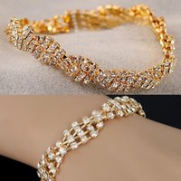 Wholesale Chic Plates - 12X New Chic Simple Gold Silver Plated Clear Crystal Chain Bracelet Fashion Women Girls Charm Wedding Jewelry Gifts Free Ship