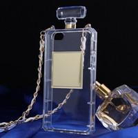 ingrosso catena di casi iphone 5s-Custodie per bottiglie di profumo di lusso con catena per iphone 5 5s se 6 6s 7 plus Custodia protettiva trasparente in TPU trasparente