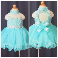 Wholesale Lace Cupcake Collars - 2018 Lovely Open Back Lace Appliques Cupcake Little Girls Pageant Dresses Beaded Crystal Kids Toddler Birthday Party Gowns Flower Girl Dress