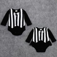 Wholesale Handsome Black Baby Boy - Wholesale-Handsome Summer Fall Baby Clothing Black White Striped One-piece Bodysuit Full Bow-tie Newborn Jumpsuit