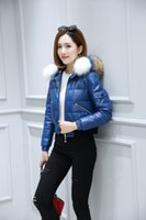 Wholesale Ladies Real Leather Jackets - Women Slim Stylish genuine leather down Jacket Coats Lady With real raccoon Fur Hooded Winter short Outerwear