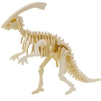 Wholesale 3d Puzzles Dinosaurs - Wholesale-Educational Toys Wooden Horned Dinosaur Model 3D Puzzle Assembling Miniature
