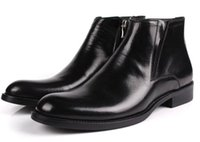 Wholesale Wedding Boots For Men - 2016 Italian luxury high top cowboy fashion mens genuine leather boots black brown men shoes formal for office business