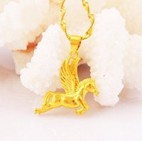 Wholesale 24k Gold Designer - 24k gold-plated Pegasus pendant Necklace, designer fashion 2016 new chains maxi necklaces for women,collier jewelry