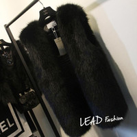 Wholesale Long Faux Fur Vest White - Wholesale-Plus Size 5XL 6XL White Black Women's Faux Fur Gilet Coat Rabbit Mink Fox Fur Vest Medium-long V-Neck Fur Waistcoats Jacket