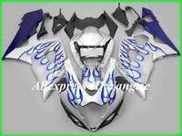 Wholesale Silver Blue Gsxr Fairings - Custom motorcycle fairing kit for SUZUKI GSXR 1000 05 06 GSX-R GSXR 1000 K5 2005 2006 Blue flames silver linings set