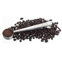ingrosso b caffè-Metal Scoop popolare con clip Cucchiai dosatori in acciaio inox Cucchiaino in polvere resistente all'abrasione Durable 2 8yz B R