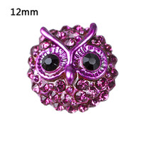 Wholesale Owl Charms For Sale - NSB6022 Hot Sale Metal Snap Jewelry Snap Buttons For Snap Buttons Jewellry Fashion DIY Charms Crystal Owl Snaps