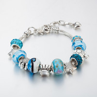 Wholesale Sea Shell Crystal - Ocean Series Blue Crystal Glass Bead Beach Bracelet - Starfish Shell Sea Turtles Bracelets For Women Girls Souvenir