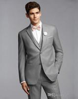 Wholesale Cheap Ties Online - Light Gray Tuxedos For Men Handsome Mens Wedding Tuxedo Custom Made Cheap Designer Mens Suits Online (Jacket+Pants+Vest+Bow Tie)