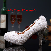 Wholesale new dream wedding dress for sale - Group buy 2015 New Sweet Dreaming white Cute Lace Flowers Lace Wedding Shoes Pearl Bride Wedding Dress Shoes High Heel Wedding Party Shoes