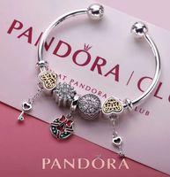 Wholesale Sterling Silver Bangles Valentine - Christmas sale Pandora open bangle bracelets sterling silver 925 bracelets full package gifts for Birthday Thanksgiving Valentines Day
