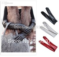 Wholesale Womens Leather Opera Gloves - Wholesale 2 pairs lot Sexy Ladies Womens Opera Evening Party Faux Leather Mittens PU Over Elbow Long Gloves L Size