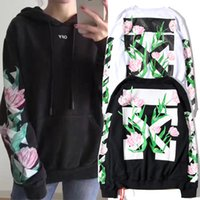 Compra Maglione Bianco Delle Donne Xl-OFF WHITE Pullover Hoodies Uomo Donna Streetwear Oblique Stripe Offset Tulip Flowers Stampa Pyrex Hoody Sweater Offwhite Felpe 3002