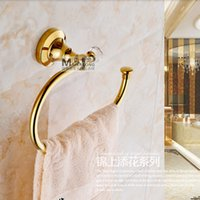 Wholesale Crystal Towel Rack - Wholesale And Retail Free Shipping Crystal Style Golden Brass Bathroom Towel Rack Holder Wall Mounted Towel Ring Towel Hanger