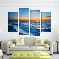 Wholesale Picture Painting Ideas - 4 Panel nature sundown seascape waves Wall painting print on canvas for home decor ideas paints on Wall pictures paint by number