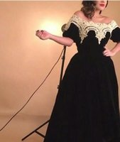 Wholesale vintage ivory lace trim - Black Velvet Prom Dresses 2016 With Champagne Trimming Lace Ball Gown Off the Shoulder Puffy Short Sleeves Evening Gowns