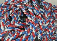Wholesale Ge Titanium Necklaces - tornado Germanium & titanium ( GE ) 3 ropes tornado braided titanium Necklace Bracelet 80pcs necklace+20pcs silicone pendant