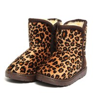 Wholesale Leopard Lined Boots - Cute Girl Boy Kids Winter Warm Leopard Print Furry Lined Snow Ankle Boots Shoes 2 Colors