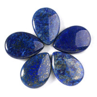 Wholesale Cabochon Lapis - 25x35mm Charm Lapis Lazuli Rhodonite etc Natural Stone Water Drop Beads Cabochon Bead Jewelry Findings Accessories Diy Jewelry Making 10pcs