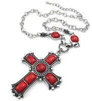 Mens Womens Vintage Large Gothic Cross Pendant Necklace Corrente Red Silver Drop Shipping