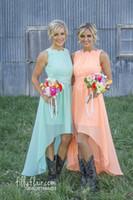Wholesale Lavender Romance Dresses - Romance High Low Peach Mint CHiffon Bridesmaid Dresses A Line Jewel Neck With Lace Applique Cheap Bridesmaid Gown
