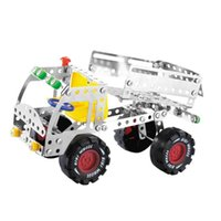 Wholesale Toy Truck Assembly - Metal 3D Assembly Toys Stainless Steel Dump Truck Model Toy Bricks Durable Improve The Hands On Ability Building Blocks Sturdy LX019 B