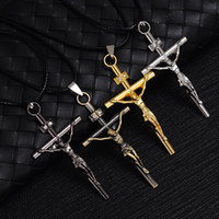Wholesale Cross Necklaces Black Rope - Mens Jesus Cross Pendant Necklaces Leather rope Necklace Statement Charm Popular sweater chains boys cool Jewelry gifts Fashion Accessories