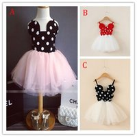Wholesale Dress Sweet Lace Dot - Girl Minnie dot Lace Camisole dress 2015 new princess party sweet tutu vest bowknot dress 3 Color B001
