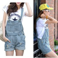 Wholesale Hot Short Denim Overalls Sale - Wholesale-S M L XL Free shipping 2015 HOT SALE Women Girls Washed Jeans Denim Casual Hole Jumpsuit Ladies Romper Overall JEANS Short