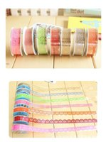 Wholesale Wholesale Scrapbooks Free Shipping - DIY Cute Colorful Kids Photo Props Lace Flower Tape for Scrapbook Decor Photo Albums Accessories washi tape Free shipping TY1019