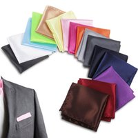 Wholesale Color Plain Tie Set - 22*22cm Solid Color Men's Pocket Square Upscale Satin Fashion Handkerchief Male Suit Pocket Towel free shipping DHL 60084