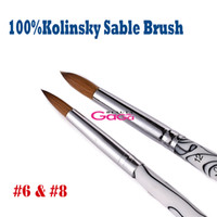Wholesale Hair Nails Supplies - BeautyGaGa 2015 Supply 2pcs lot #6 + #8 Pure Animal Kolinsky Hair Nail Art Manicure Pedicure Tool Kolinsky Acrylic Nail Brush Free Shipping
