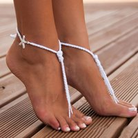 Wholesale Rope Anklets - 2016 Sandbeach Barefoot Sandals Cheap Stretch White Hemp Rope Anklet Chain With Crystal Star For Wedding Bridal Bridesmaid Foot Jewelry