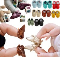 Wholesale Leather Bow Top Wholesale - Free Fedex UPS Ship 2016 baby moccasins baby moccs girls bow moccs 100% Top Layer soft leather moccs baby booties toddler shoes 120Pairs Lot