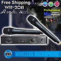 Wholesale Vhf Microphone System - Free Shipping Professional Handheld Mic VHF Wireless Microphone System For KTV Conference Meeting Karaoke Computer Network Singing Microfone