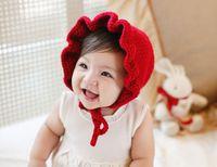 Wholesale baby girl bonnet flowers for sale - newborn handmade crochet flowers hats baby wool hat kids winter caps fashion girls knit hair accessories toddler bonnet photography hats