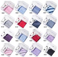 Wholesale Tie Clip Button - Necktie Set Neck Tie Hanky Cufflinks Clip Kit Gift Box +Gift Bag Perfect Present Men's Ties Sets Cuff Links Button