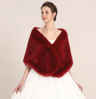 bridesmaids jacket red UK - Princess Faux Fur Bridal Shrug Wrap Cape Stole Shawl Bolero Jacket Coat Crystal For Winter Wedding Bride Bridesmaid Dresses Real Image LY909