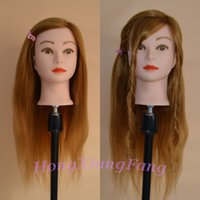Wholesale Training Head Human Hair Blonde - Free Shipping Mannequin Dummy Manequin Cosmetology Mannequin Heads 80% Blonde Human Hair Training Mannequin Head With Human Hair
