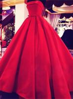 vestido rojo sin tirantes hasta el suelo al por mayor-Sin tirantes años 1950 Hepburn vestidos de noche rojos por encargo palabra de longitud satinado partido clásico vestidos de baile vestidos de noche